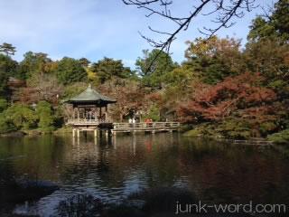 成田山公園「竜智の滝浮御堂」の紅葉