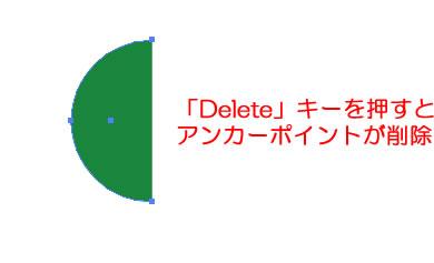 アンカーポイントを削除して円形を半円形に変形させる