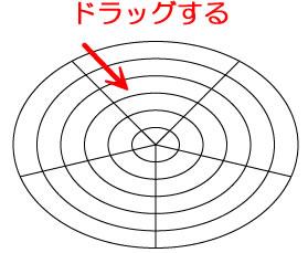 イラストレーターCC「同心円グリッドツール」ドラッグして描画
