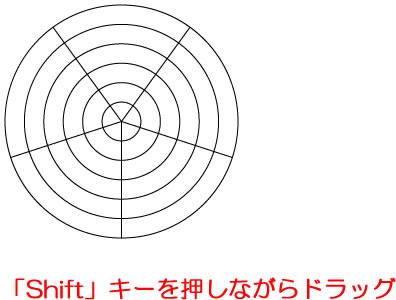 イラストレーターCC 正円の同心円を描く