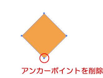 イラストレーター「アンカーポイントの削除ツール」で菱形のアンカーポイントを削除