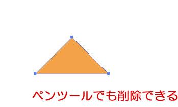「ペンツール」でアンカーポイントを削除して菱形を三角形にしました