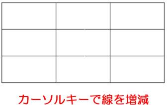 「長方形グリッドツール」矢印キー(カーソル)で線の数を増減