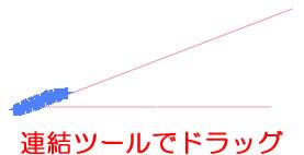 二本の線を近づけた状態で連結ツールを適用