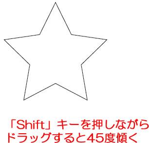 イラストレーターCC 星を45度傾ける