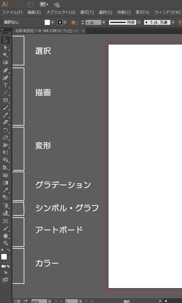 イラストレーター ツールパネル名称