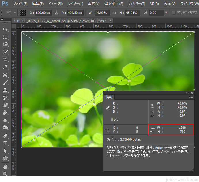 コピーすると解像度と画像の大きさ(サイズ)が自動で調整される