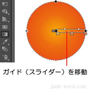 円形グラデーションの中心をずらす ガイドを移動