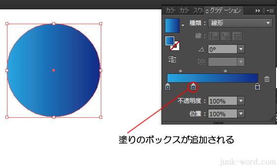 グラデーションスライダーに色のボックス(分岐点)が追加される