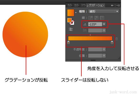 角度でグラデーションの向きを反転 スライダーは反転しない