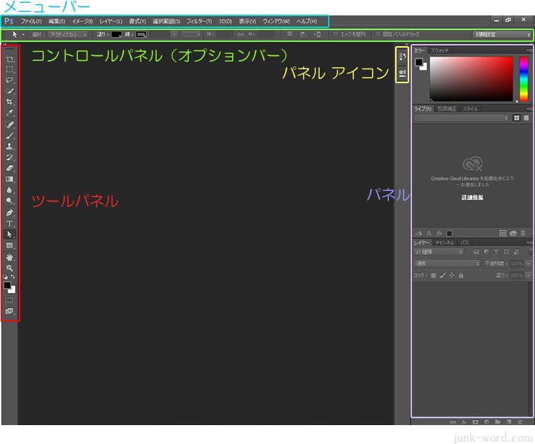 フォトショップ(Photoshop CC)画面各部の名称