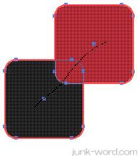 「シェイプ形成ツール」結合させるオブジェクトをドラッグ